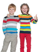 Joyful children on the white background — Stock Photo