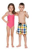 Duas crianças em trajes de banho — Foto Stock