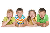 Group of four cheerful children — Stock Photo