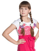 Pretty young girl on the white — Stock Photo