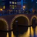 Bridge in Amsterdam at black night — Stock Photo #38953207