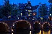 Amsterdam bridge at black night — Stock Photo