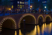 Bridge in Amsterdam at black night — Stock Photo