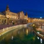 Plaza de Espana in Seville at night — Stock Photo #39189249