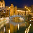 Plaza de Espana in Seville at black night — Stock Photo