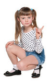 Young girl in polka dot blouse — Stock Photo