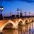 The Pont de pierre in Bordeaux — Stock Photo
