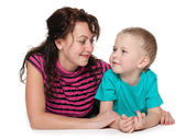 Happy mother with her little son — Stock Photo