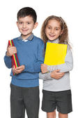 Boy and girl with books — Stock Photo