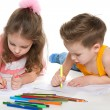 Boy and girl draw on paper — Stock Photo #41252583