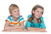 Cheerful children on the white — Stock Photo