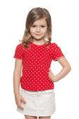 Smiling preschool girl against the white — Foto Stock