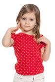 Cute preschool girl on the white — Foto Stock