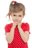 Thoughtful preschool girl on the white — Stock Photo