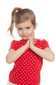 Cute preschool girl against the white — Stock Photo
