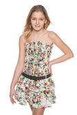 Fashion preteen girl against the white — Stock Photo