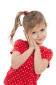 Shy little girl against the white — Stockfoto