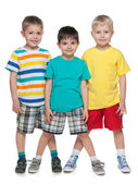 Three fashion smiling little boys — Stock Photo