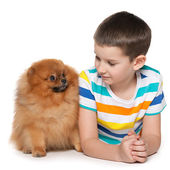Little boy with a small dog — Stock Photo