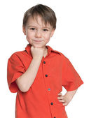 Smiling little boy in the red shirt — Stock Photo