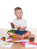 Painting little boy — Stock Photo