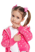 Thoughtful preschool girl in pink — Stock Photo
