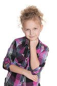 Thoughtful fashion little girl — Stockfoto