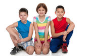 Group of three happy children — Стоковое фото