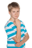 Portrait of a pensive preteen boy — Foto de Stock