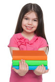 Happy pretty little girl with books — Stock Photo