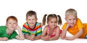 Four happy children — Stock Photo