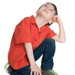 Little boy looks up — Stock Photo #48620153