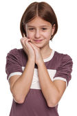 Shy preteen girl on the white — Stock Photo