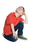 Little boy looks up — Stock Photo