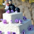 Wedding cake with bride and groom - Stock Photo