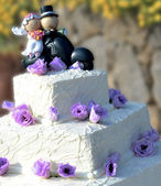 Wedding cake with bride and groom — Stock Photo