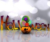 3d bakgrund av halloween - pumpa med slickar slickar — Stockfoto