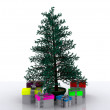 Christmas tree with gifts - 3D — Stock Photo