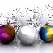 Christmas background with snow and ball — Stock Photo #14330337