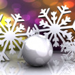 Christmas background with snow and ball — Stock Photo