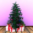 Christmas background with decorated Christmas tree — Foto de Stock