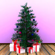 Christmas background with decorated Christmas tree — Стоковая фотография
