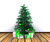 Christmas background with decorated Christmas tree — Stock Photo