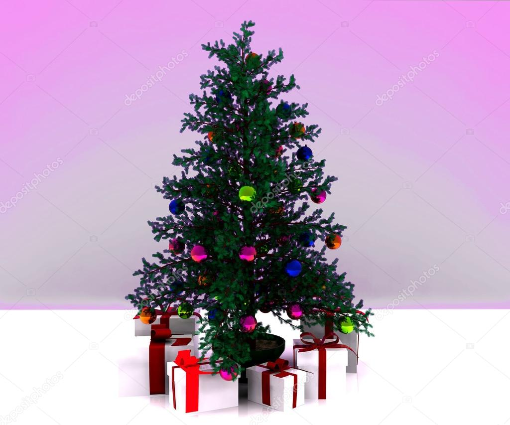 Christmas background with decorated Christmas tree - 3D — Stock Photo #14689461