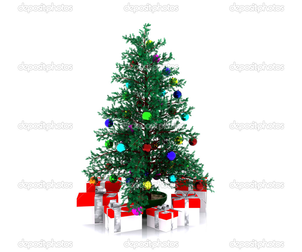 Christmas background with decorated Christmas tree - 3D — Stock Photo #14690037