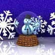 Glass ball with Snowman - 3D — Stock Photo #14790331