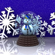 Nice glass ball with Snowman — Stock Photo
