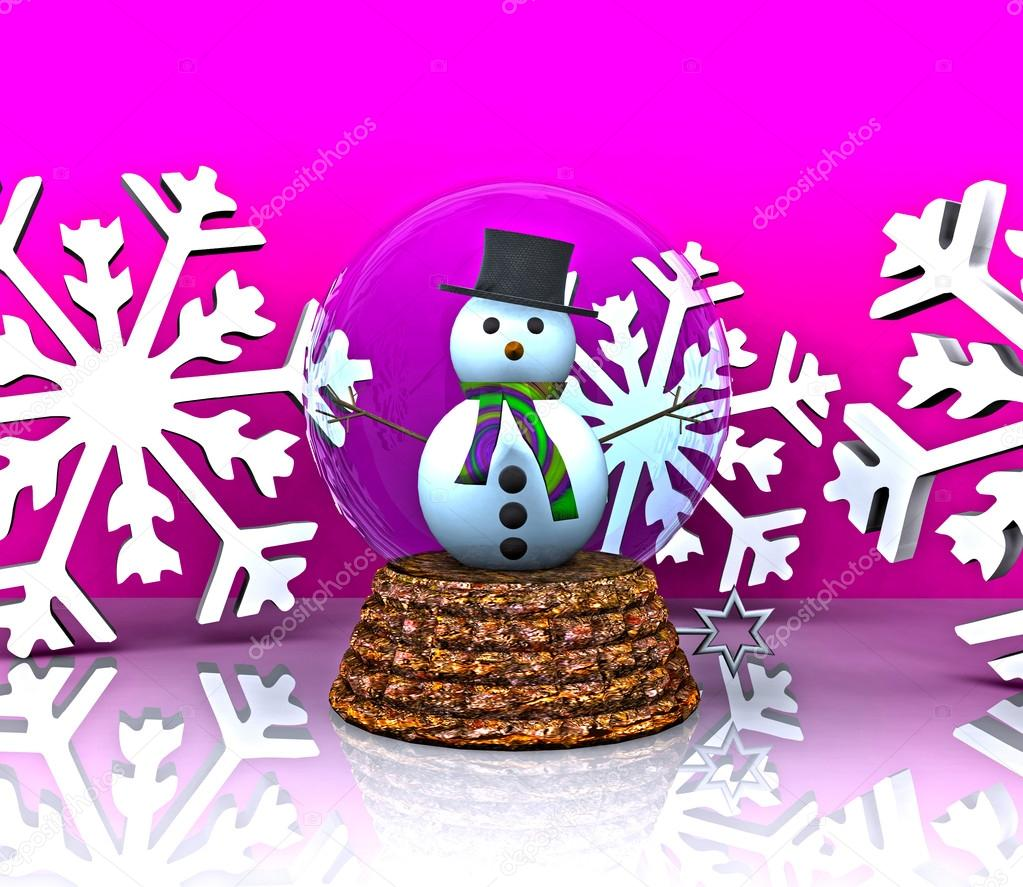 Nice glass ball with Snowman - 3D — Stock Photo #14828135