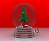 Carillon with christmas tree and gifts - 3D — Stock Photo