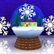 Carillon Christmas winter landscape with house - Stock Photo
